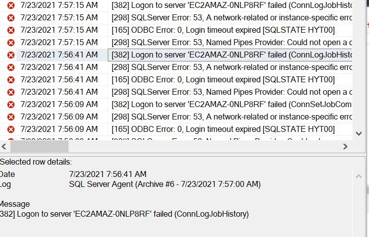 SQL Server Agent Error Logs